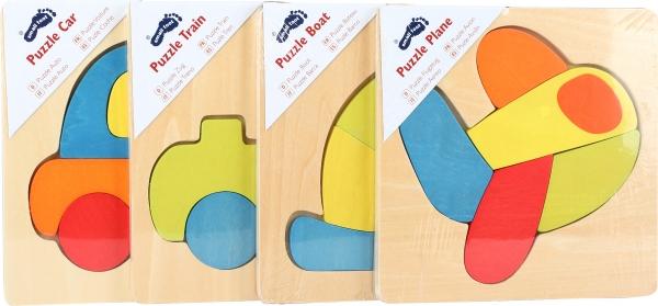 Set 4 puzzle-uri vehicule din lemn 2