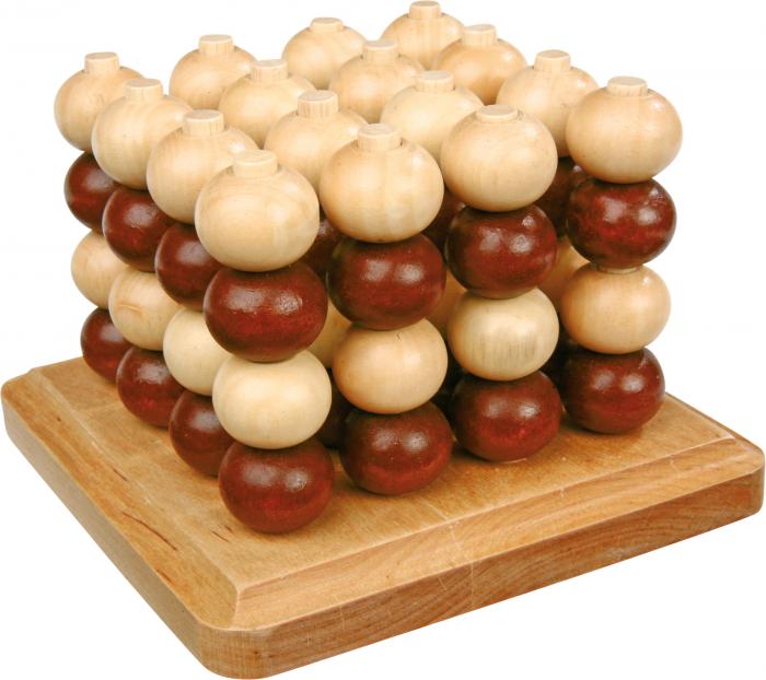 Joc de inteligenta 4 in linie, 3D, din lemn 0