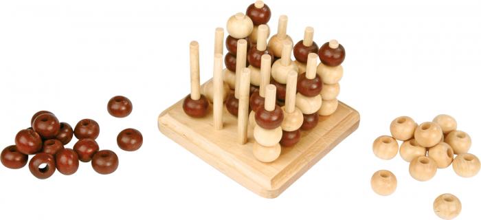 Joc de inteligenta 4 in linie, 3D, din lemn 1