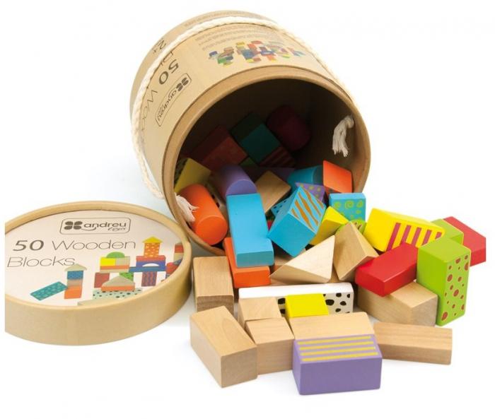50 cuburi colorate din lemn in galetusa [0]