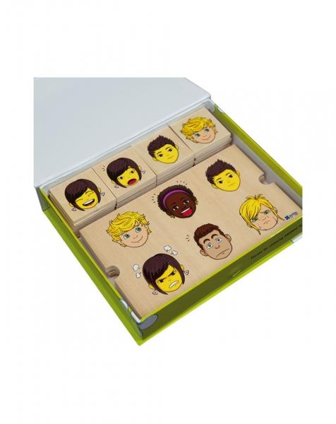 Puzzle Invatam Emotiile, 4 template-uri, 24 de piese, din lemn 4