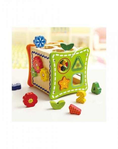 Cubul cu Flori, 5 activitati educative,12 forme, numaratoare si rotite interconectate 3