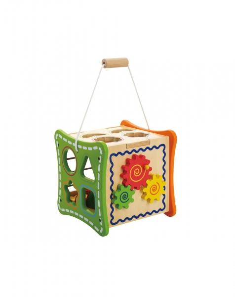 Cubul cu Flori, 5 activitati educative,12 forme, numaratoare si rotite interconectate 4
