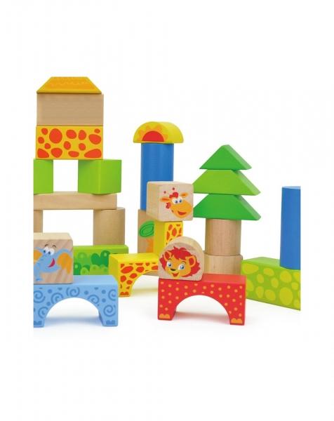 Cuburi de construit din lemn 50 piese Animalele 1