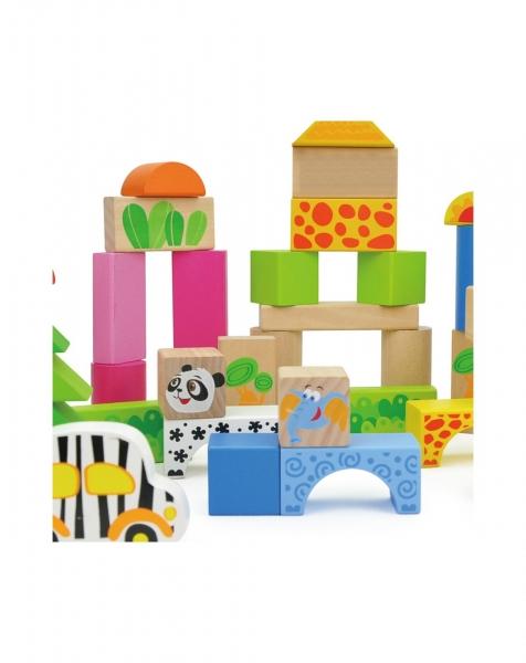 Cuburi de construit din lemn 50 piese Animalele 2