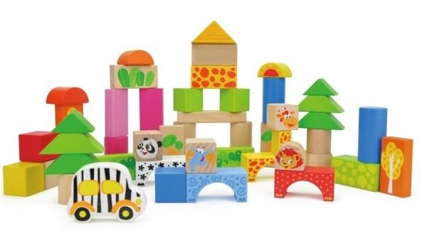 Cuburi de construit din lemn 50 piese Animalele 0