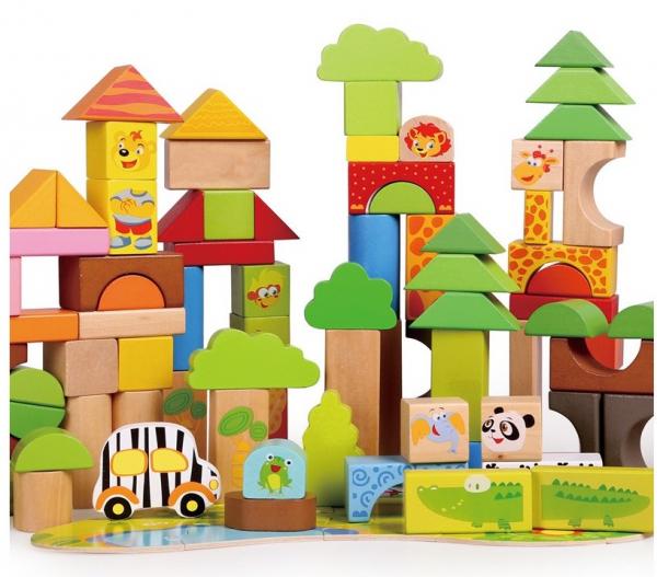 Cutie mare cu 110 cuburi lemn Aventuri in Jungla 1