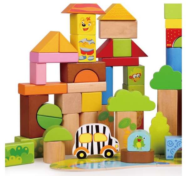 Cutie mare cu 110 cuburi lemn Aventuri in Jungla 2