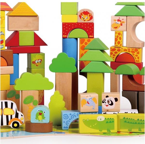 Cutie mare cu 110 cuburi lemn Aventuri in Jungla 3