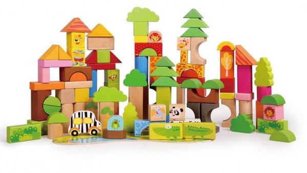 Cutie mare cu 110 cuburi lemn Aventuri in Jungla 0