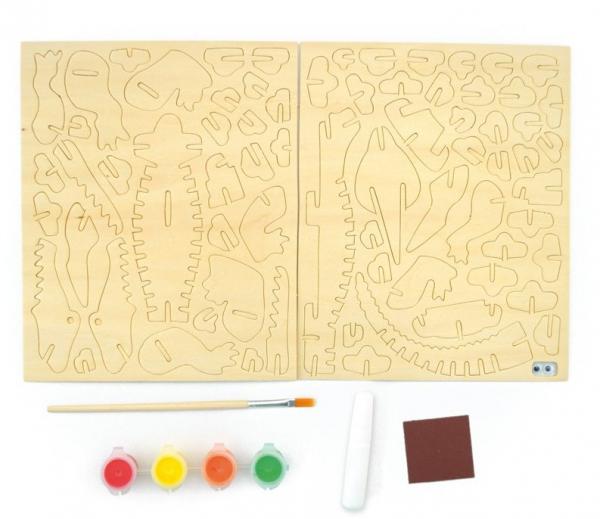 Schelet de crocodil, joc de pictat si asamblat, din lemn 1