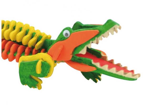 Schelet de crocodil, joc de pictat si asamblat, din lemn 3