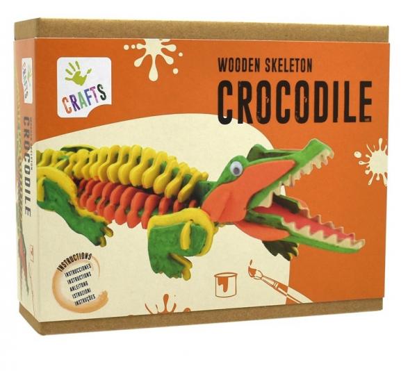 Schelet de crocodil, joc de pictat si asamblat, din lemn 0