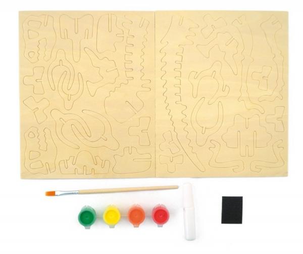 Schelet de dinozaur, joc de pictat si asamblat, din lemn 1