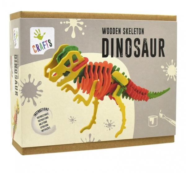 Schelet de dinozaur, joc de pictat si asamblat, din lemn 0