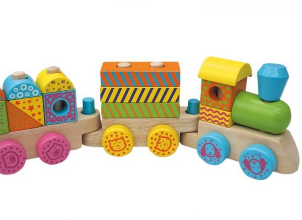 Trenuletul colorat din lemn cu 15 cuburi si roti cu animalute [2]