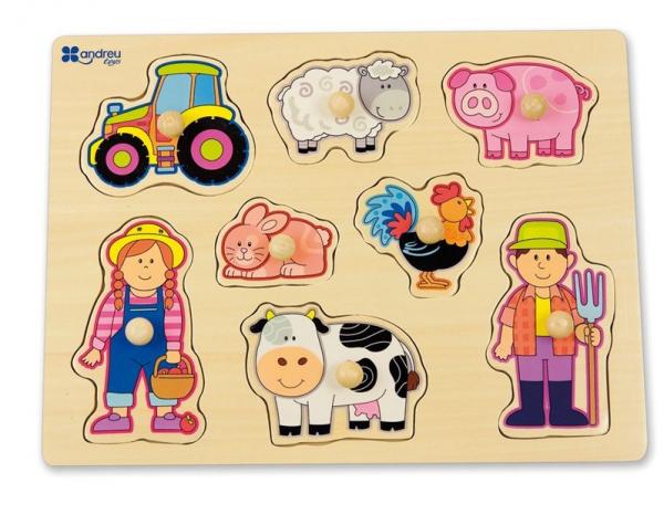 Puzzle din lemn cu butoane Animale domestice 0