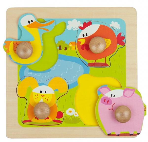 4 animale, puzzle cu butoane mari, lemn 0