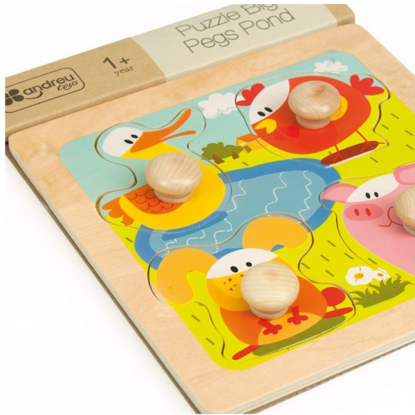 4 animale, puzzle cu butoane mari, lemn 1