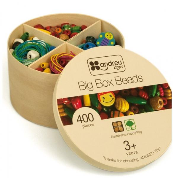 Margelute din lemn la cutie mare, 400 piese 0