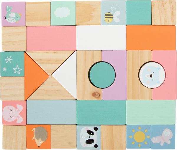 Antemergator din lemn cu 34 cuburi de construit Pastel 7