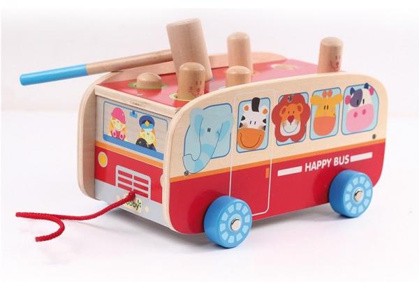 Autobuzul cu animale, 2 in 1, joc cu ciocanel si de tras 2