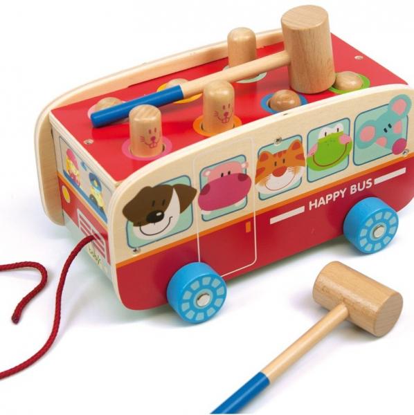Autobuzul cu animale, 2 in 1, joc cu ciocanel si de tras 1