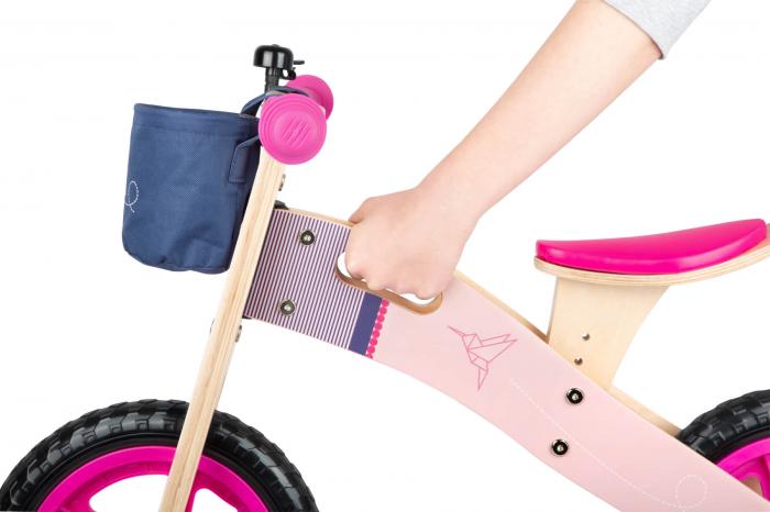Bicicleta de echilibru din lemn Colibri in accente roz neon [7]