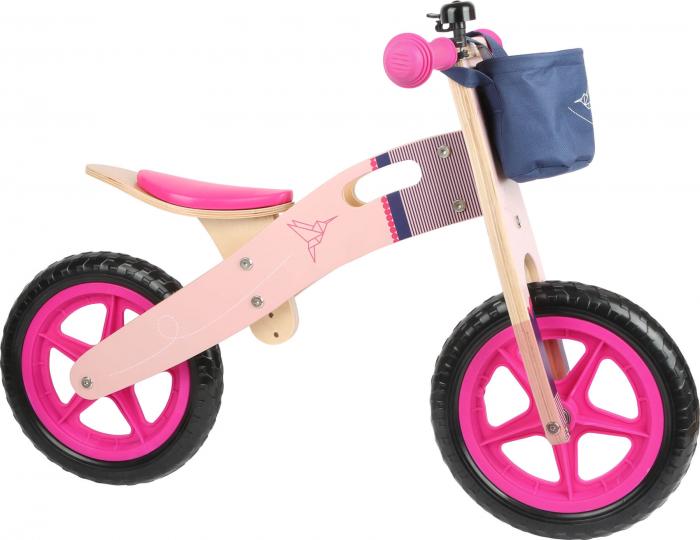 Bicicleta de echilibru din lemn Colibri in accente roz neon [2]