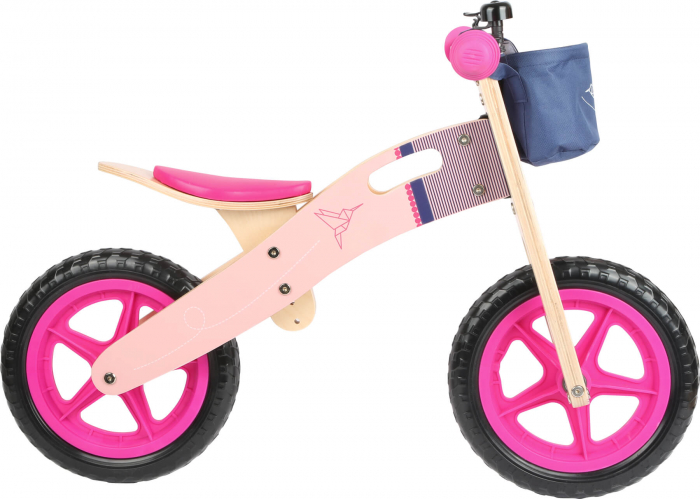 Bicicleta de echilibru din lemn Colibri in accente roz neon [4]
