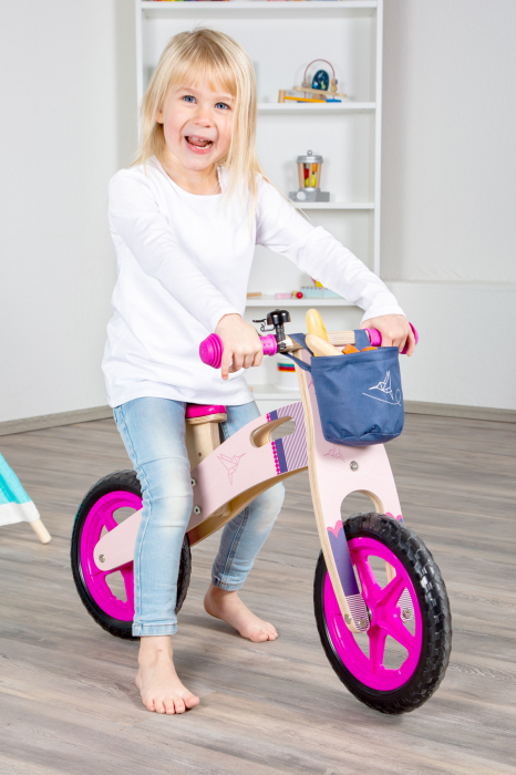 Bicicleta de echilibru din lemn Colibri in accente roz neon [9]
