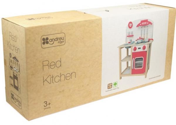 Bucataria rosie din lemn pentru 2 copii, 75.5 cm inaltime 3
