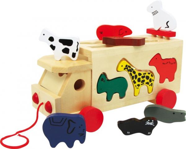 Camion de tras din lemn cu forme animale 0