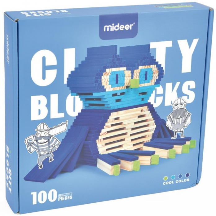 City Blocks, cuburi de lemn pentru construit in 4 culori 0