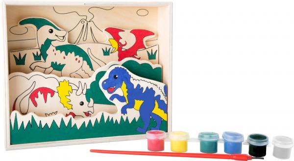 Coloreaza dinozaurii, set de pictura din lemn 2