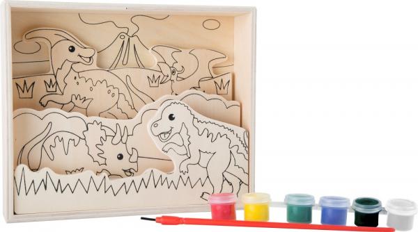 Coloreaza dinozaurii, set de pictura din lemn 0