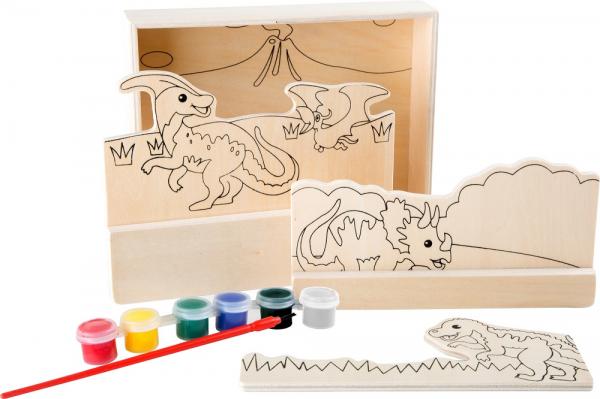 Coloreaza dinozaurii, set de pictura din lemn 3