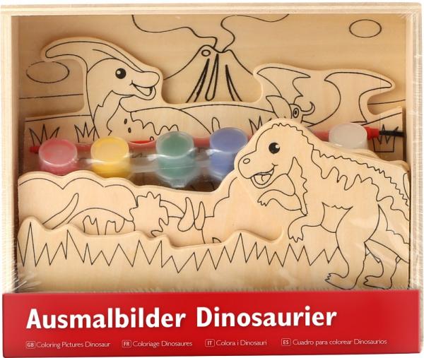Coloreaza dinozaurii, set de pictura din lemn 1