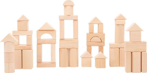 Cuburi de constructie din lemn natur, set de 50 [1]