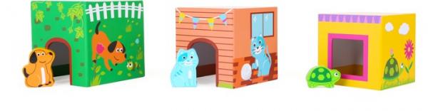 Cuburi de construit cu 6 figurine animale 1