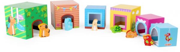 Cuburi de construit cu 6 figurine animale 2