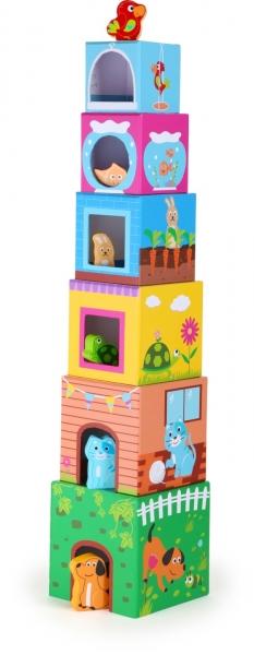 Cuburi de construit cu 6 figurine animale 0