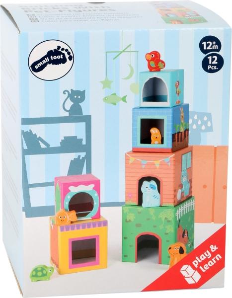 Cuburi de construit cu 6 figurine animale 5