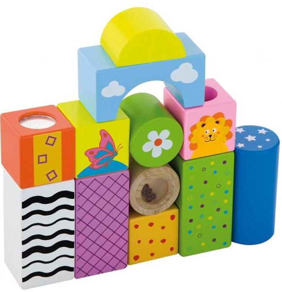 Cuburi de construit cu sunete si animalute, pentru dezvoltarea senzoriala, set de 12 0