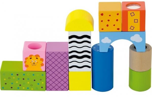 Cuburi de construit cu sunete si animalute, pentru dezvoltarea senzoriala, set de 12 2