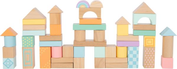 Cuburi de construit din lemn in culori pastelate 2