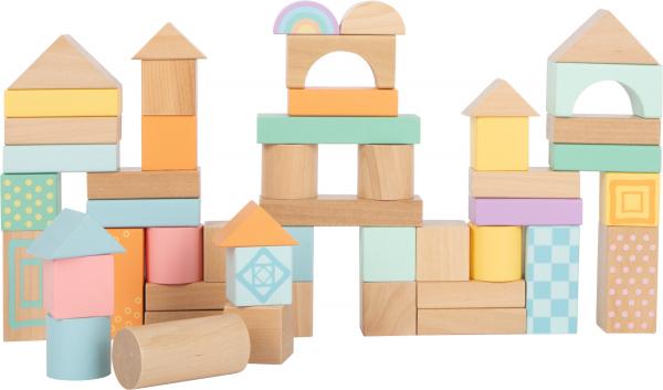Cuburi de construit din lemn in culori pastelate 0