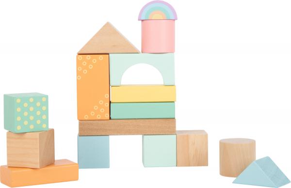 Cuburi de construit din lemn in culori pastelate 1