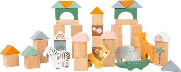 Cuburi de construit din lemn in culori pastelate si design Safari 2