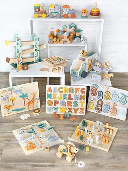 Cuburi de construit din lemn in culori pastelate si design Safari 5